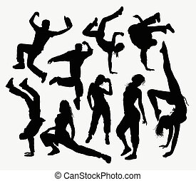 Freestyle dance, male and female action silhouette. Good use for symbol, logo, web icon, mascot, game elements, or any design you want. Easy to use, edit, or change color.