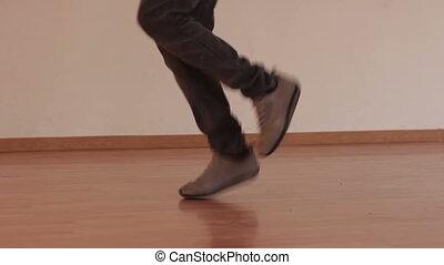 Freestyle dancing legs in studio