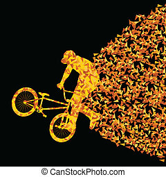 Freestyle extreme cyclist silhouette sport abstract vector background concept made of triangular fragments explosion for poster