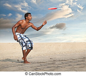Freestyle Flying Disc Sports Player on the Beach
