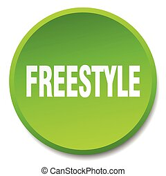 freestyle green round flat isolated push button