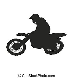 freestyle, motocross., silhouette, vecteur