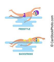 freestyle, nageurs, vecteur, dos crawlé, illustration
