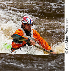 Freestyle on whitewater - Competition of kayak freestyle on...