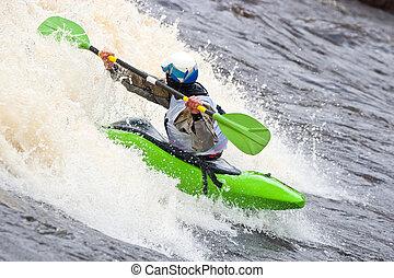 Freestyle on whitewater - Kayak freestyle on whitewater,...