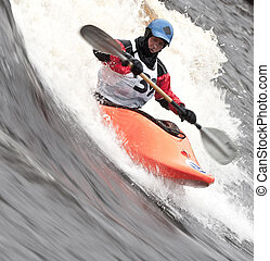 Kayak freestyle on whitewater, Russia, Msta, may 2010