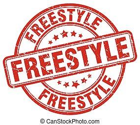 freestyle red grunge round vintage rubber stamp