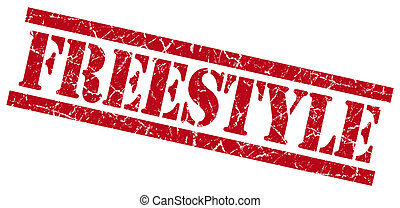 freestyle red grungy stamp isolated on white background