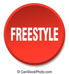 freestyle red round flat isolated push button