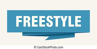 freestyle sign. freestyle paper origami speech bubble. ...