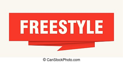 freestyle sign. freestyle paper origami speech bubble....
