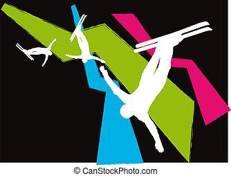 freestyle, silhouettes, vector, ski