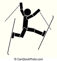 Freestyle skiing. Flat icon