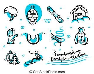 freestyle , snowboard , θέτω , συλλογή , εικόνα