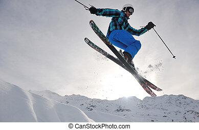 freestyle, sprong, ski, extreem