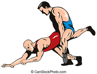 Freestyle wrestling - Vector art on olympic sport