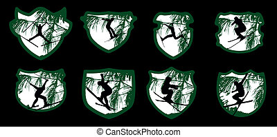 freestyler winter sports skier vector art