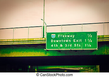 Freeway 10 sign in downtown Los Angeles