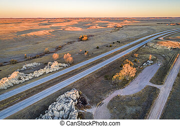 freeway across rolling prairie