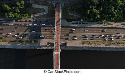Freeway busy city rush hour heavy traffic jam highway....