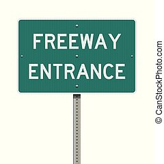 Freeway Entrance road sign - Vector illustration of the...