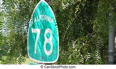 Freeway entrance sign on interchange crossraod in San Diego ...
