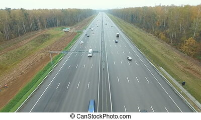Freeway in the autumn forest