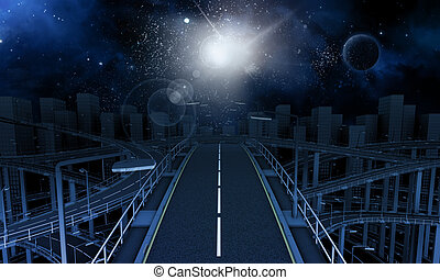 Freeway in the city with space sky