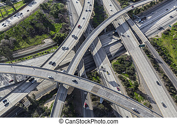 Aerial view of the Golden State 5 and 118 freeway interchange in Los Angeles California.