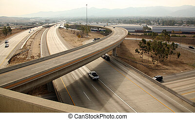 Freeway Interchange - View of a Highway Interchange in...