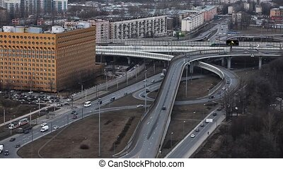 freeway intersection - Aerial view of a freeway intersection...