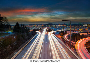 Freeway Light Trails in Seattle at Sunset