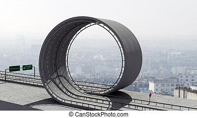 Freeway loop - A freeway with a loop