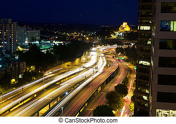 Freeway Motion Blur - Motion Blue of Cars on I5 Freeway in...