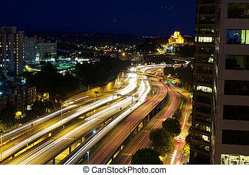 Freeway Motion Blur - Motion Blue of Cars on I5 Freeway in...