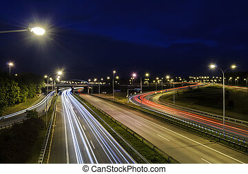 Freeway near the Katowice in the evening
