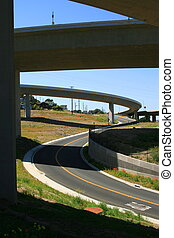 Close up of the empty freeway ramps.