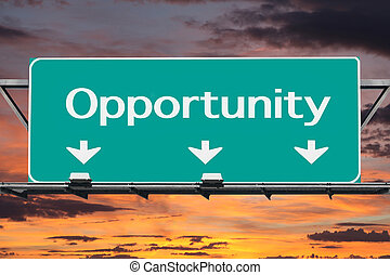 Freeway to Opportunity Road Sign