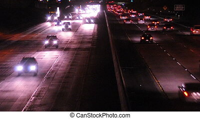 Freeway Traffic at Night both lanes