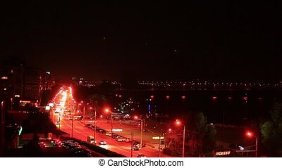 Freeway traffic in downtown Ukraine Dnipro - Freeway traffic...