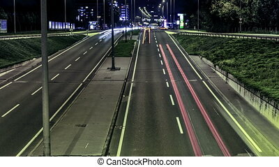 Freeway traffic time lapse by night in Zagreb