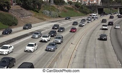 Freeway traffic, time-lapse - Time lapse of traffic on a...