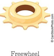 Freewheel icon, isometric 3d style