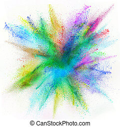 Freeze motion of colored dust explosion. - Freeze motion of...