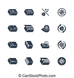 Freezer and Refrigerator Icon Set in Glyph Style