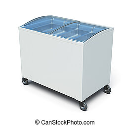 Freezer chest isolated on white background. 3d render image.