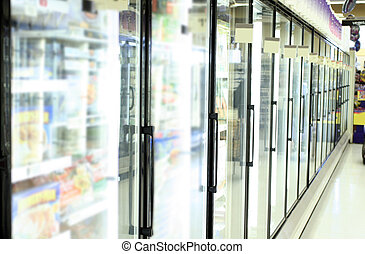 grocery store - freezer in grocery store