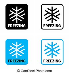 Freezing concept, low temperature information sign