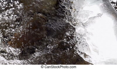 Freezing Forest Stream - The water in the mountain stream of...