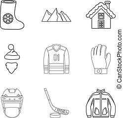 Freezing injury icons set, outline style